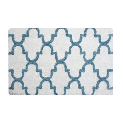 Harriette Bath Rug Size: 34 x 21, Color: White/New Blue