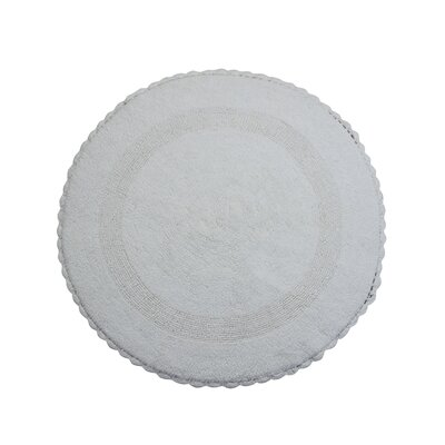 Natale 100% Soft Cotton Reversible Bath Rug Color: White