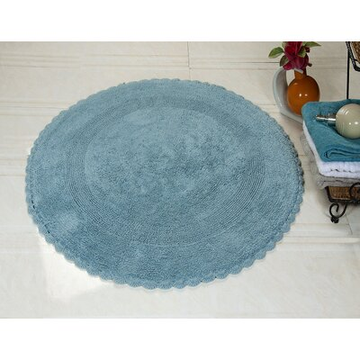 100% Soft Cotton Reversible Bath Rug Color: Arctic Blue