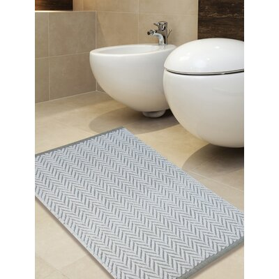 100% Cotton Tufted Bath Rug Color: White/Gray, Size: 36