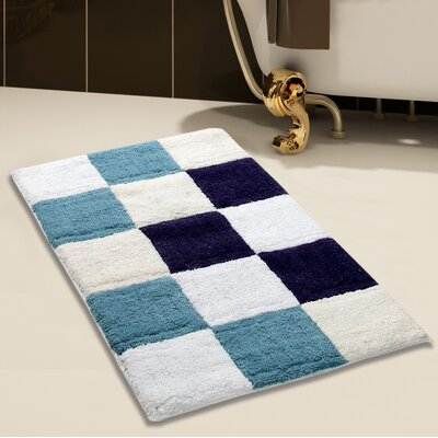 2 Piece 100% Cotton Bath Rug Set Color: Blue, Size: 34