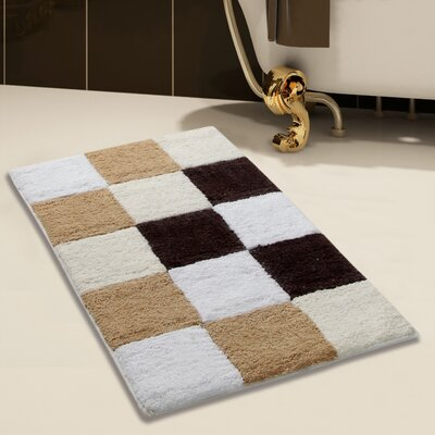 100% Cotton Bath Rug Color: Beige, Size: 36 x 24
