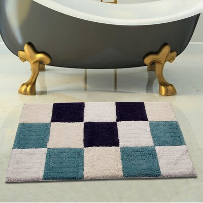 100% Cotton Bath Rug Size: 34 x 21, Color: Blue