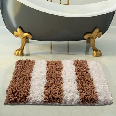 Handloom Woven Bath Rug Color: White/Beige, Size: 50 x 30