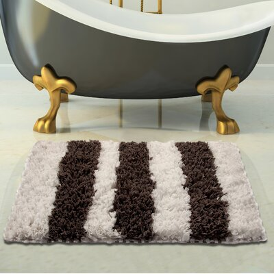 Handloom Woven Bath Rug Size: 34 x 21, Color: White/Gray