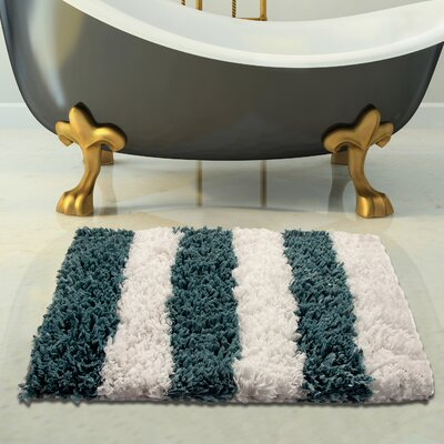 Handloom Woven Bath Rug Size: 34 x 21, Color: White/Blue