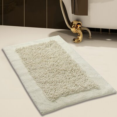 Tufted Bath Rug Set Color: Ivory, Size: 24 x 17 / 34 x 21
