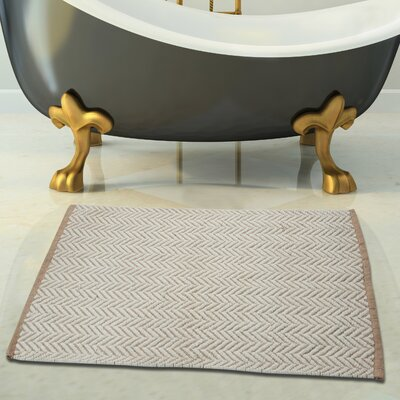 2 Piece 100% Cotton and Tufted Bath Rug Set Color: Ivory and Beige