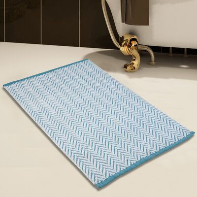 2 Piece 100% Cotton and Tufted Bath Rug Set Color: White/Blue