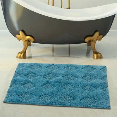 2 Piece 100% Soft Cotton Bath Rug Set Color: Arctic Blue, Size: 24 x 17 / 34 x 21