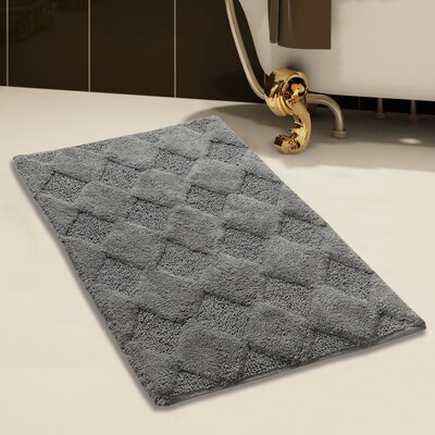 100% Soft Cotton Bath Rug Size: 50 x 30, Color: Gray