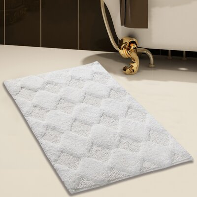 100% Soft Cotton Bath Rug Color: White, Size: 34 x 21