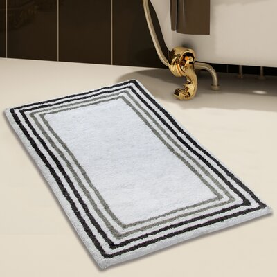 2 Piece 100% Soft Cotton Bath Rug Set Color: White/Gray, Size: 34 x 21 / 36 x 24