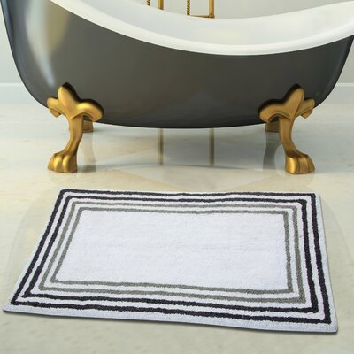 100% Soft Cotton Bath Rug Size: 34 x 21, Color: White/Gray