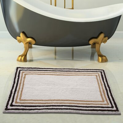 100% Soft Cotton Bath Rug Size: 34 x 21, Color: White/Beige,