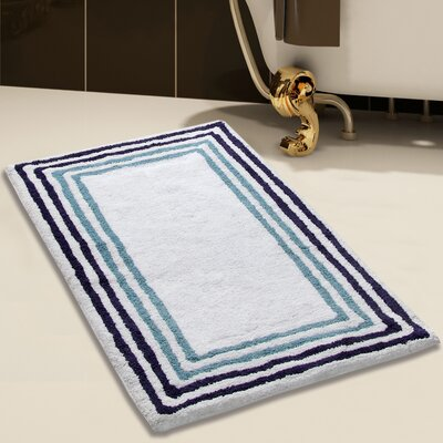 2 Piece 100% Soft Cotton Bath Rug Set Color: White/Blue, Size: 34 x 21 / 36 x 24