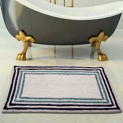 100% Soft Cotton Bath Rug Color: White/Blue, Size: 36 x 24