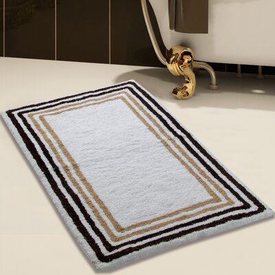 100% Soft Cotton Bath Rug Size: 50 x 30, Color: White/Beige,