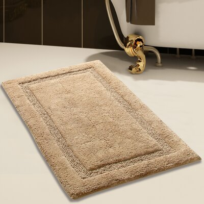 2 Piece 100% Soft Cotton Bath Rug Set Color: Beige