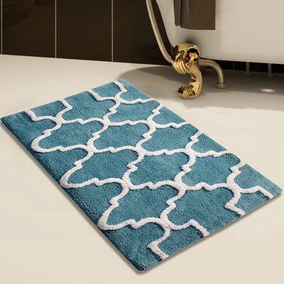 2 Piece 100% Soft Cotton Bath Rug Set Color: Arctic Blue/White