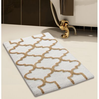 2 Piece 100% Soft Cotton Bath Rug Set Color: White/Beige