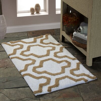2 Piece Cotton Bath Rug Set Color: White/Beige