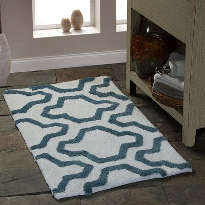 Bath Rug Size: 34 x 21, Color: White / New Blue