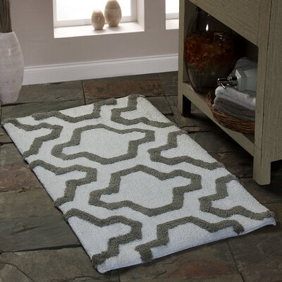 2 Piece 100% Soft Cotton Bath Rug Set Color: White/Gray