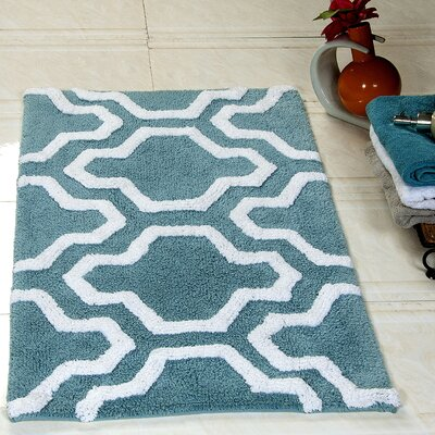 2 Piece Cotton Bath Rug Set Color: Arctic Blue/White
