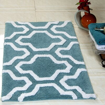 2 Piece Bath Rug Set Color: Arctic Blue/White