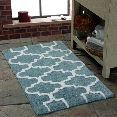 Harriette Geometric Bath Rug Size: 34 x 21, Color: Arctic Blue/White
