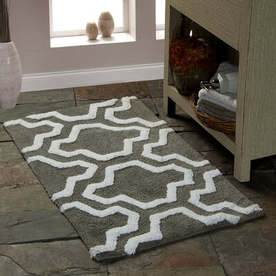 2 Piece Bath Rug Set Color: Gray/White