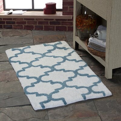 Harriette Geometric Bath Rug Color: White/New Blue, Size: 36 x 24