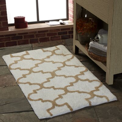 Harriette Geometric Bath Rug Color: White/Beige, Size: 36 x 24