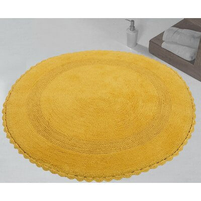 100% Soft Cotton Reversible Bath Rug Color: Yellow
