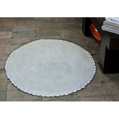 100% Soft Cotton Reversible Bath Rug Color: White