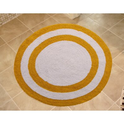 100% Soft Cotton Reversible Two Tone Bath Rug Color: Yellow / White