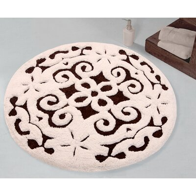 Bourbeau Cotton Damask Bath Rug Color: Chocolate / Ivory