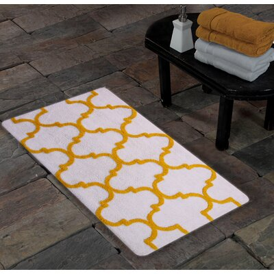 Harriette Bath Rug Size: 50 x 30, Color: White/Yellow