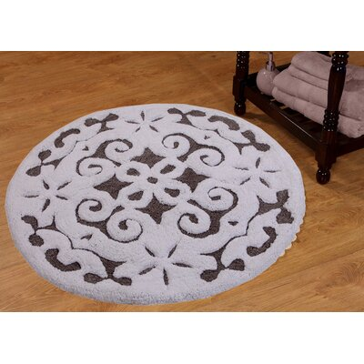 Bourbeau Cotton Damask Bath Rug Color: Gray / White