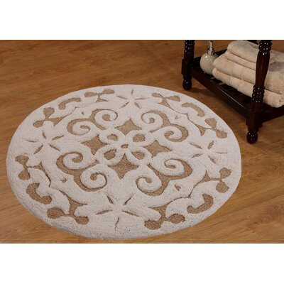 Cotton Damask Bath Rug Color: Beige / Ivory