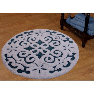 Cotton Damask Bath Rug Color: Blue / White