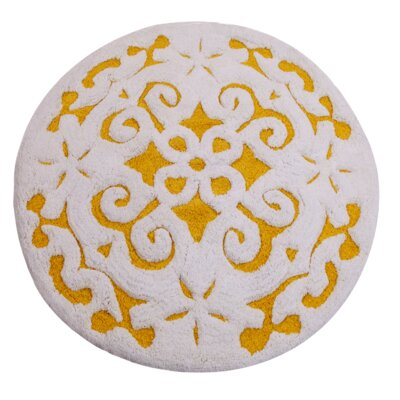 Cotton Damask Bath Rug Color: Yellow / White