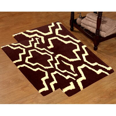 2 Piece 100% Soft Cotton Quatrefoil Bath Rug Set Color: Chocolate / Ivory