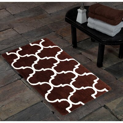 100% Soft Cotton Geometric Bath Rug Color: Chocolate / Ivory