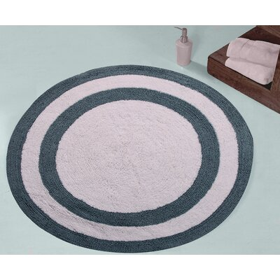 100% Soft Cotton Reversible Two Tone Bath Rug Color: Blue / White