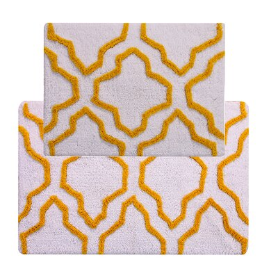 2 Piece 100% Soft Cotton Quatrefoil Bath Rug Set Color: White / Yellow