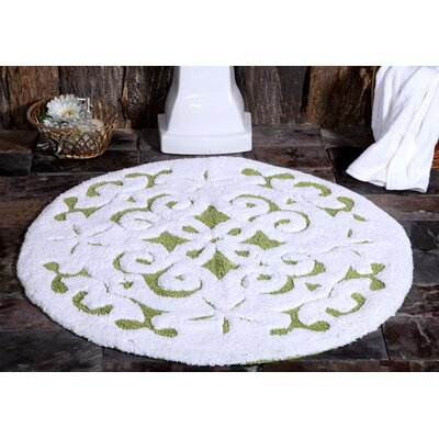 Bourbeau Cotton Damask Bath Rug Color: Sage Green / White