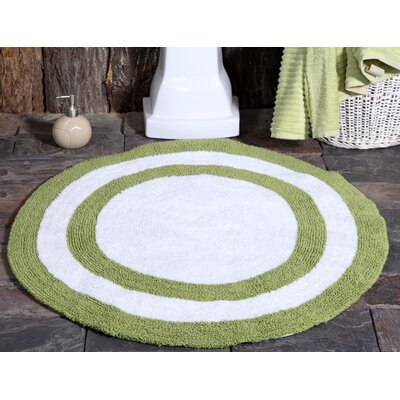 100% Soft Cotton Reversible Two Tone Bath Rug Color: Sage Green / White