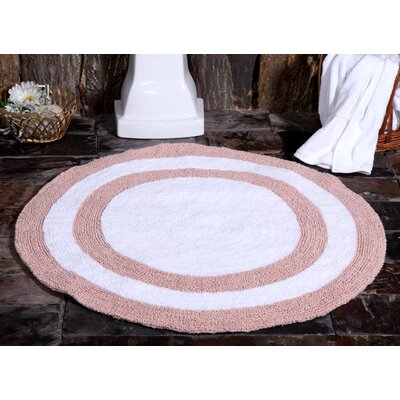 100% Soft Cotton Reversible Two Tone Bath Rug Color: Coral / White